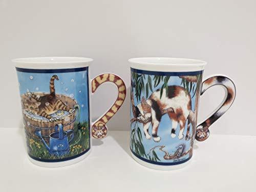 The Danbury Mint Comical Cats Porcelain Collector Mugs by Gary Patterson - Set of 2 Assorted Mugs -