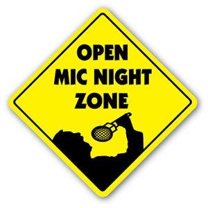 OPEN MIC NIGHT ZONE Sign Decal spoken word comedy comedian jokes music karaoke club