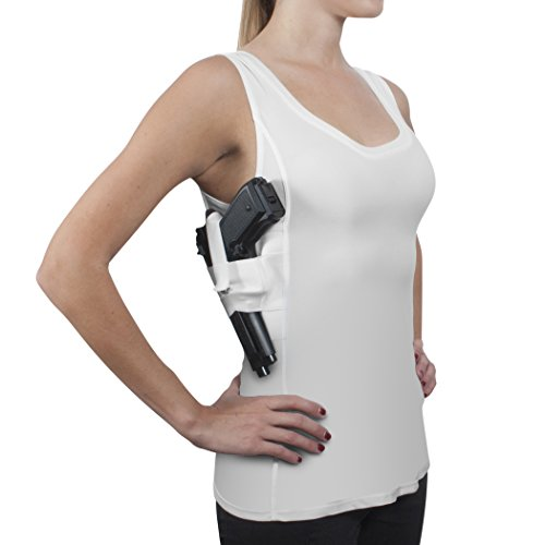 ConcealmentClothes Women's Compression Undercover- Concealed Carry Holster Tank Top Shirt - White - Large