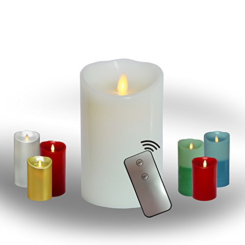 AEON Moving Wick Flameless Real Wax Pillar Candle with Timer/Remote Control - Mimic a Warm, Natural Swaying Flame. Most Realistic Candles Replacement. Safe and Clean Home/Festive Decor. 5