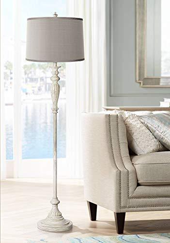 Vintage Chic Floor Lamp Antique White Platinum Gray Silk Drum Shade for Living Room Office - Possini Euro Design