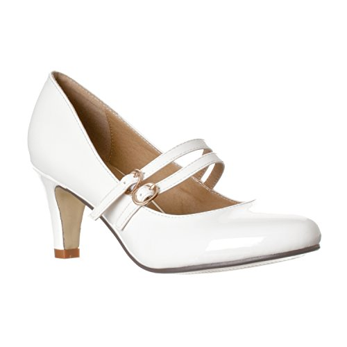 Riverberry Women's Mila Chunky, Mid Heel Mary Jane Pump Heels, White Patent, 6.5
