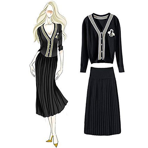 Larga Otoño Moda Plisada Falda Negro Conjunto Manga Mujeres Ywjhy Suéter CSPxqvwT