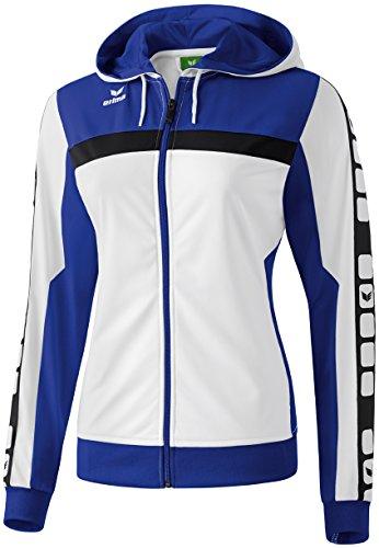 Mujeres Erima chaqueta de entrenamiento de 5 CUBOS con capucha 5-CUBOS Serie blanca / azul índigo / negro, Opciones Tamaño: 7 Hombres
