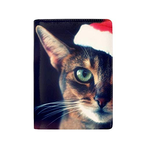 Dongingp Passport Holder, PU leather Travel Case Cover for Passport, Cat Tabby Face Hat Christmas Red Size 3.94 x 5.51 inch