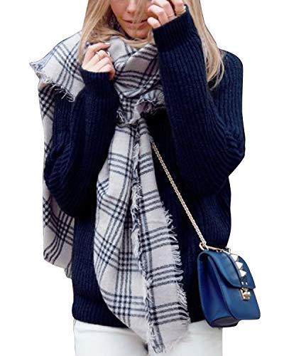 Ephow Women Plaid Blanket Scarf Winter Warm Chunky Oversize Tartan Wrap Shawl Lattice Scarfs