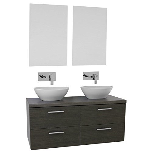 Iotti AN450 Aurora Double Vessel Sink Bathroom Vanity Wall Mounted with Mirrors Included, 45