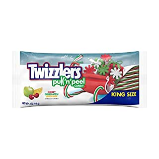 Twizzlers PULL 'N' PEEL Holiday King Size Candy, Cherry, Green Apple, Lemonade Flavored , 4.2 Ounce Bag (Pack of 15)