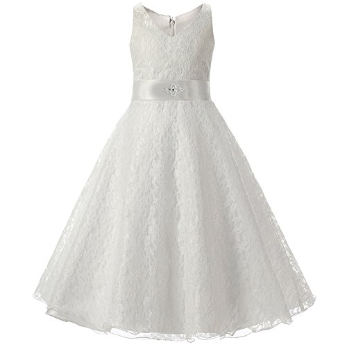 LPATTERN Kids Big Girls Lovely Lace V-Neck Flower Girl Dress Wedding Dress (Dresses For Young Girls)