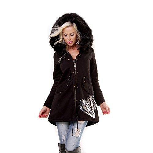 lentejuelas con con de para en de forrada invierno negra mujer q0qwTfFZ