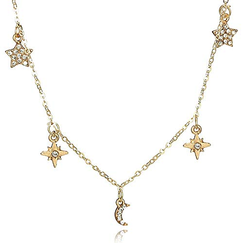 (Women Sweet Moon Five-Pointed Star Rhinestone Single Necklace Clavicle)