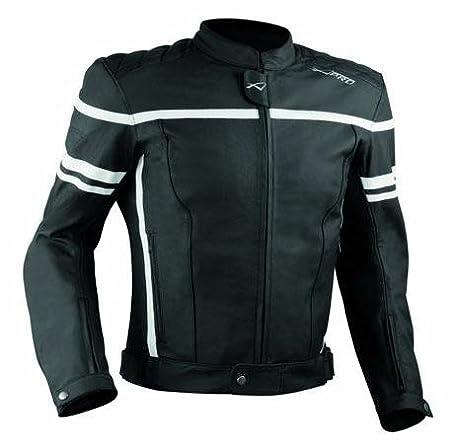 Giacca Giubbino Moto Pelle Sfoderabile Sport Custom Naked Protezioni Bianco M A-PRO 5180000068813