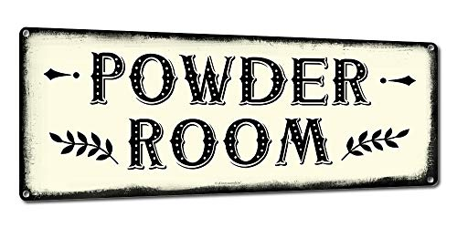 Powder Room, 6 x 16 Inch Metal Farmhouse Sign, Rustic Vintage Wall Decor for Home, Restaurant, Diner, Coffee Shop, Farm Theme Gifts for Farmers, Ranchers, Animal Lovers, Housewarming, RK3116 6x16 (Ideas Print Bathroom Decorating Animal)