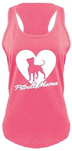 Comical Shirt Ladies Racerback Tank Pitbull Mama Tee Pitt Bully Dog Lover Gift Tee Hot Pink with White Print S