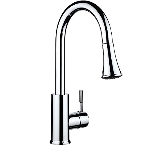 pH7 Single Handle Pull Down Sprayer Kitchen Sink Faucet Stainless Steel Kitchen Faucets with Docking System Chrome