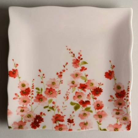 222 Fifth (PTS) Belicia Red Square Salad Plate, Fine China Dinnerware ()