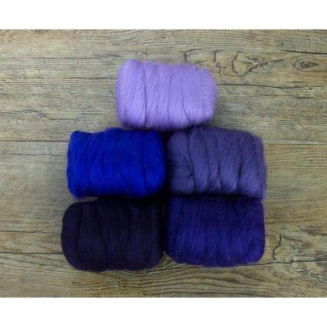 Paradise Fibers Mixed Merino Wool Bag - Plush Purple - Merino Wool Fiber Lot Perfect for Needle Felting, Wet Felting, Hand Spinning, and Blending by Paradise Fibers (Image #1)