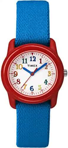 Timex Kids TW7B99500 Time Machines Analog Blue/Red Elastic Fabric Strap Watch