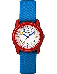 Kids TW7B99500 Time Machines Analog Blue/Red Elastic Fabric Strap Watch