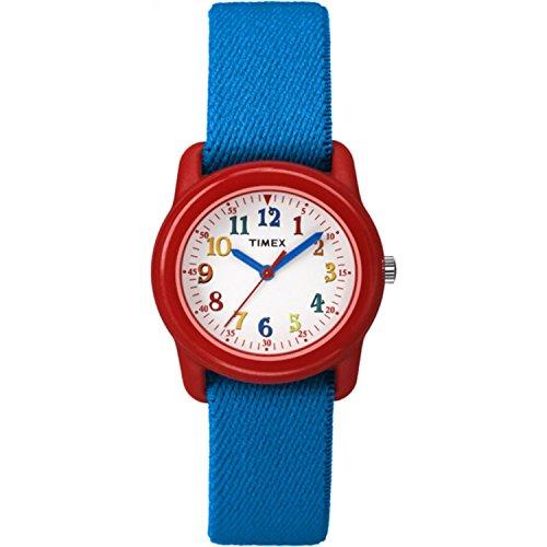 Timex Kids TW7B99500 Time Machines Analog Blue/Red Elastic Fabric Strap Watch (Boys Strap Watch Velcro)