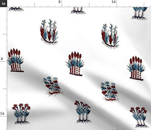 Swiss Fabric - Basel Block Print Antique 18Th Century Red White And Blue Patriotic Historically Print on Fabric by the Yard - Basketweave Cotton Canvas for Upholstery Home Decor Bottomweight Apparel