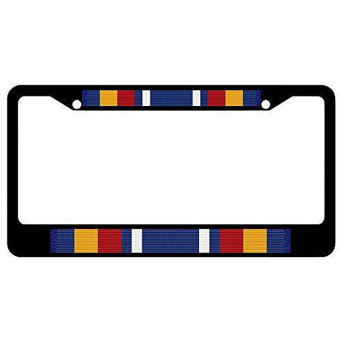 URCustomPro Global War on Terrorism Service Medal Ribbon License Plate Frame Military, Black Stainless Steel License Tag Holder with Screw Caps - 2 Holes Car License Plate Cover for US Vehicles