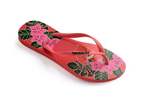 Havaianas Womens Slim Floral Rubber Flip-Flops Coralnew Size EU 41/42 - Bra 39/40 - US M7/8 - Havaianas Floral Flip Flops