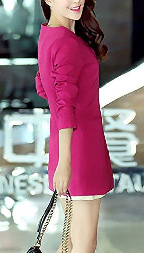 Autunno Giacca Donna Fit Casual Lunga Manica Outerwear Ufficio Rotondo Lungo Blazer Moda Stlie Grazioso Primaverile Slim Giacche Monocromo Eleganti Collo Tailleur Da Rosa Cappotto 6qrwTnqS0