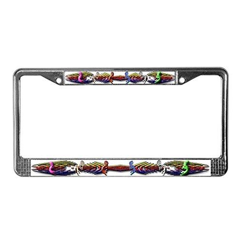 CafePress Colorful Kokopelli Banner Chrome License Plate Frame, License Tag Holder