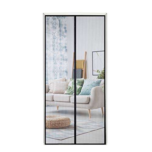 Homitt Magnetic Screen Door with Heavy Duty Mesh Curtain and
