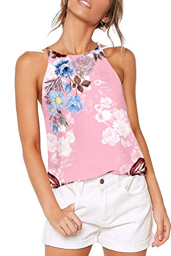 Summer Halter Tops for Women Sexy Casual Camisole Juniors Clothes Basic Tees Floral Pink -