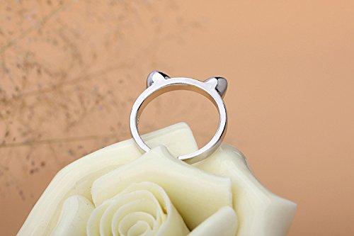 Fashmond- Bague chat ouverte ajustable femme fille- Argent fin 925- Cadeau Saint Valentin Anniversaire
