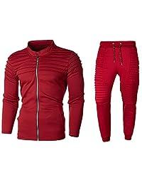 Sinzelimin Men's Tracksuit Set 2 Piece Athletic Sports Casual Full Zip Active wear Sweatsuit Jogger Pants Set