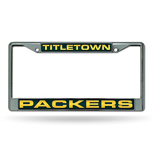 Green Laser Cut License Plate - Rico Industries NFL Green Bay Packers Laser Cut Standard Inlaid License Plate Frame, 6