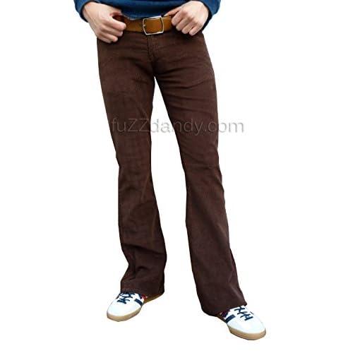 Mens Brown Bootcut Flares Corduroy Pants Jeans Retro Vintage low ...