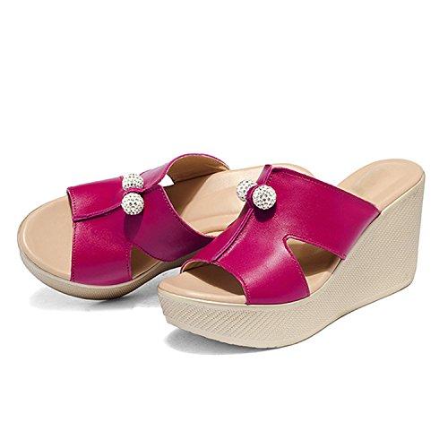 Sandales Vacances Tongs Frestepvie Eté Rose Compensée Casual Perles Vintage Plage de Chaussure Femme Confortable Mules Sabots r7Z7IqY