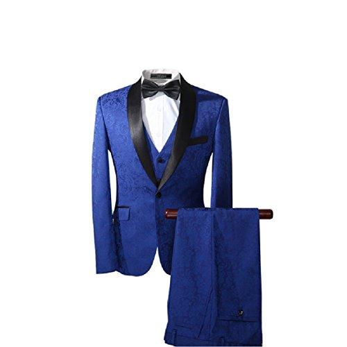 YFFUSHI Men's Modern Elegant Jacquard 3-Piece Suit Slim-Fit Tuxedo Dinner Dress