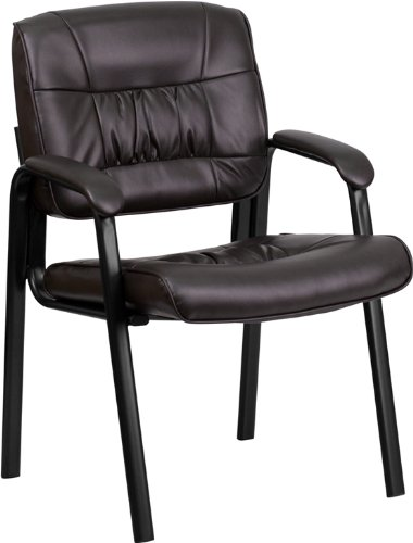 Flash Furniture Brown Leather Executive Side Reception Chair with Black Frame Finish