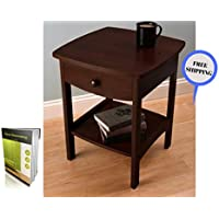 Modern Square Dark Brown Nightstand With A Drawer At Top And A Shelf At The Bottom Made By Solid Wood And E- Book By TSR