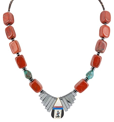 Native-Bay Retail Tag Kachina Authentic Made by Charlene Little Navajo Silver Inlay Natural Turquoise Red Jasper Mother of Pearl Lapis Hematite Native American Necklace