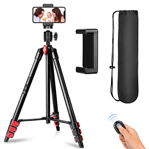 ZOMEI Phone Tripod, Tripod for iPhone Camera Portable Lightweight Aluminum Tripod Stand with Universal Cell Phone Holder…