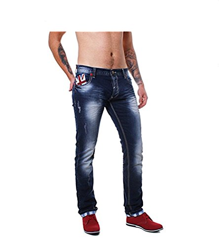 ReRock Herren England destroyed Jeans UNION JACK blau 32-3185