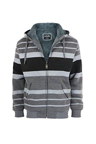 Men's Stripe Zip Up Heavy Blend Sherpa-Lined Fleece Hoodie Sweatshirts (Large)