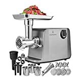 ChefWave Electric Meat Grinder - FDA Certified - Stainless Steel Heavy Duty 1800W Max 3-Speed - 4 Grinding Plates, 3 Cutting Blades, Vegetable Slicer, Tomato Juicer, Sausage Stuffer Tubes, Kibbeh Kit