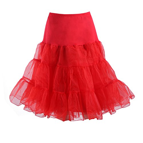 HDE Women's Plus Size Petticoat Vintage Swing Dress Underskirt Tutu Skirt (2XL-3XL, (Petticoat Dress Red)