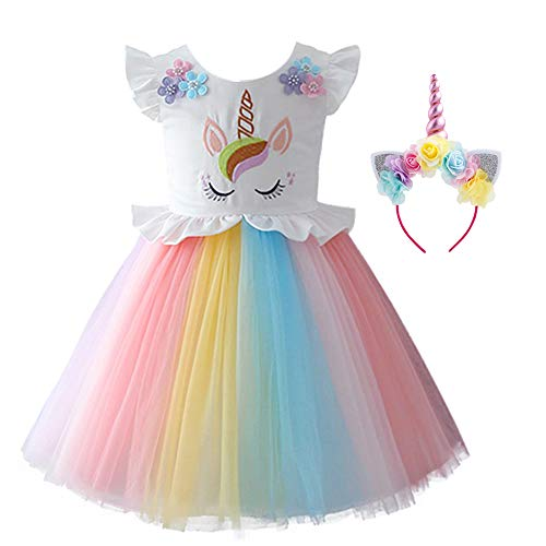 Unicorn Princess Costume Baby Toddler Kid Girls Flower Embroidery Rainbow Tutu Dress Fancy Dress Up Pageant Birthday Cosplay Playwear 2-3 Years -