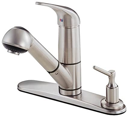 Danze D455612SS Melrose Single Handle Pull Out Kitchen Faucet With Deck  Plate And Soap Dispenser