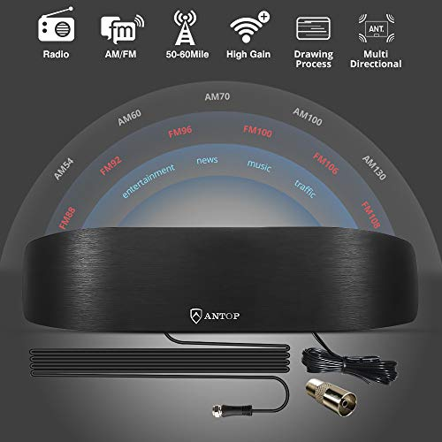 ANTOP Amplified Indoor AM FM Antenna, 50 Mile Radio Antenna with Built-in Digital Amplifier Booster for Amplifier Stereo Radio Audio Signals RF Broadcast Receiver fit in Home/Cafe Shop/Office