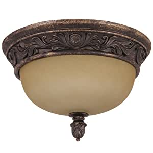Sunlite DAB13/TS 13-Inch Decorative Dome Ceiling Fixture, Antique Brown Finish with Tea Stained Glass