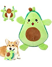 Pawaboo Squeaky Dog Toys, 2-in-1 Interactive Plush Puzzle Dog Toys, Tug of War Dog Chew Toys, Safe Pet Stuffed Plush Toys, Cute Smiley and Crying Avocado Pattern Toys for Medium, Small Puppy Dogs